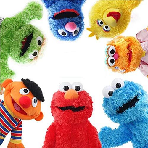 7 Piezas Barrio Sésamo Marioneta De Mano Espectáculo De Marionetas Elmo Ernie Big Bird De Dibujos Animados Muñeco De Peluche Suave Cumpleaños para Niños Regalos De Año Nuevo 33Cm