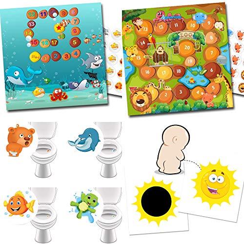 Kinderbeloon voor pottengebruik met 2 beloningssystemen Aquarium + dierentuin / 4 toiletstickers favoriete dieren / 2 toverstickers zon