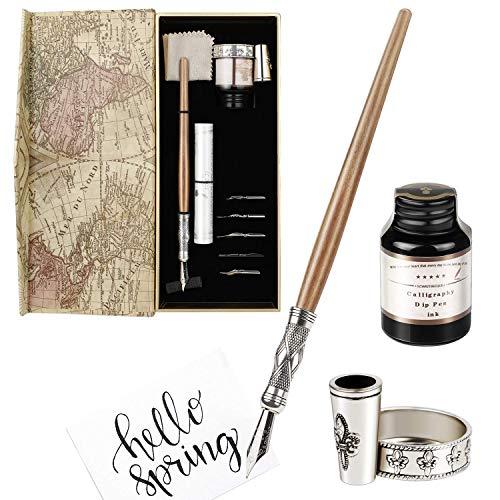Juego de plumas para caligrafía, inmersión a las plumas y tinta inglesa, pluma estilográfica con 5 puntas, tinta negra y soporte para la pluma, un regalo perfecto o para uso personal