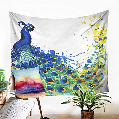 N / A Tapestry home decoration Peacock Tapestry Wall Hanging Sandy Beach Picnic Rug Camping Tent Sleeping Pad Home Decor Bedspread Sheet Wall Cloth
