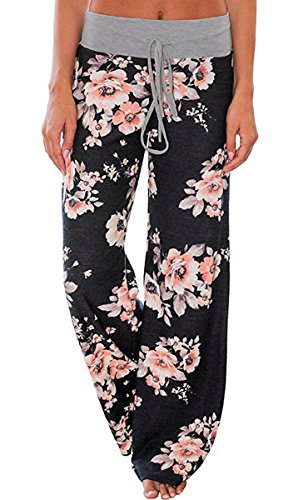 Elsofer Women's Pajama Lounge Pants Floral Print Comfy Casual Stretch Palazzo Drawstring Pj Bottoms Pants Wide Leg (Tag XXL (US 12), Black)