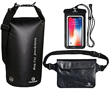 Freegrace Waterproof Dry Bags Set of 3 Dry Bag with 2 Zip Lock Seals & Detachable Shoulder Strap Waist Pouch & Phone Case - Can Be Submerged Into Water - for Swimming  Black 5L