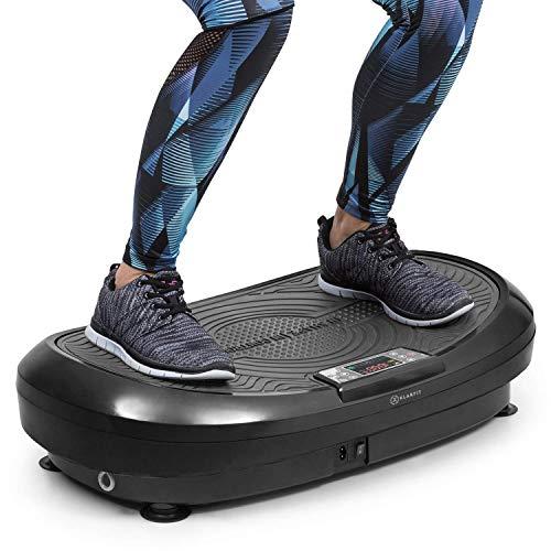 Klarfit Vibe 4DX - Tabla vibratoria, Carga máx. 120 kg, Potencia 440 W, 10 Modos de Entrenamiento, Motor Triple 4DX, Cintas de Fitness, Recubrimiento Antideslizante, Pantalla LCD, Gris Oscuro