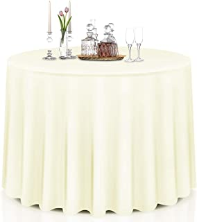 Giantex 10 Pcs Round Ivory Tablecloth 90-Inch, Premium Polyester Table Cover, Machine Washable, Durable Table Cloths for Wedding Reception Restaurant Banquet Party (Ivory, 90'')