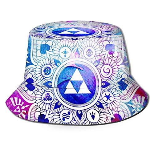 Legend of A Zelda Mandala - Sombrero de Pescador Plegable, Acuarela, Plegable, para Mujer, Hombre, Verano, Hawaii, Moda, protección Solar, UV, Boonie, Gorra de Camionero para Viajes en la Playa