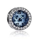 NINGAN Charm Coeur Scintillant - Breloques de Perles en Argent Sterling 925 Compatible pour Pandora ou d'autres Marques...
