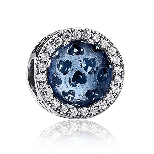 NINGAN Abalorio de plata de ley 925 con diseño de corazones radiantes. Abalorio charm compatible con pulsera (Moonlight Blue)