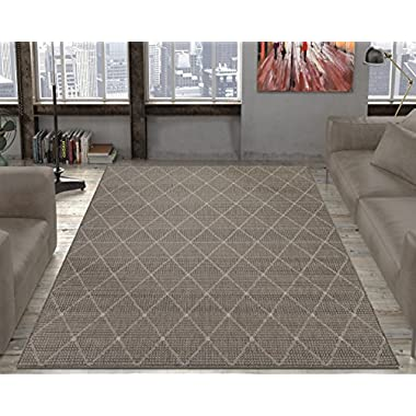 Ottomanson Jardin Collection Contemporary Trellis Design Indoor/Outdoor Jute Backing Area Synthetic Sisal Rug, Grey, 5'3 x 7'3