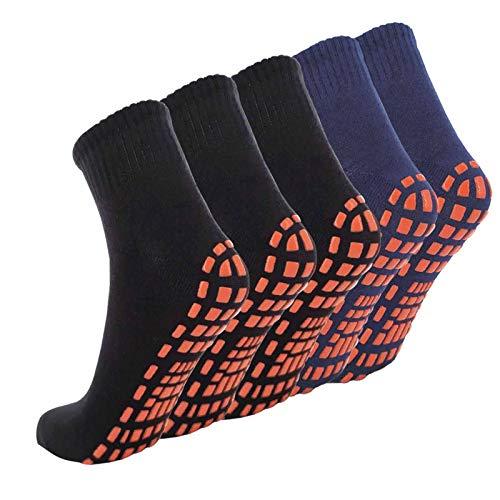 NOVAYARD 5 pares de calcetines antideslizantes para pilates, hospitales, yoga, calcetines antideslizantes, para hombre y mujer, Negro y azul marino., S