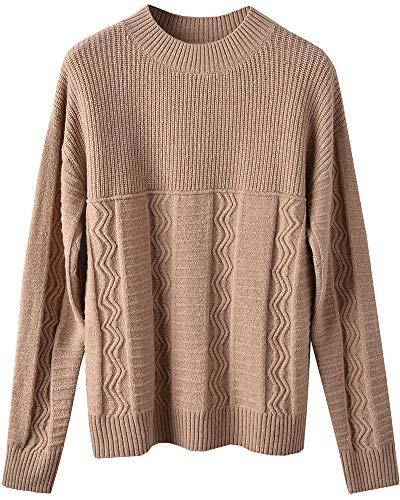 ZHILI vrouwen 100% Merino wol Mock hals Stitch Wave patroon trui Jumper