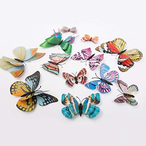12 piezas luminosas de doble capa mariposa 3D pegatina de pared decoraciones de boda que brillan en la oscuridad imán mariposas pegatinas de nevera