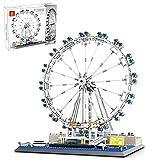 WWEI Bloques de construcción London Eye, rueda gigante de arquitectura, juguete de construcción de 1528 piezas modular para casa de adivinación, vista de calle, compatible con Lego 21034