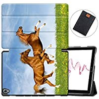 MAITTAO Compatible with Huawei MediaPad M6 10.8 2019 Case, Slim Leather Folio Smart-Shell Stand Cover with Auto Wake/Sleep for Huawei Mediapad M6 10.8 Inch 2019 Released Tablet, Akhal-Teke Horse 16
