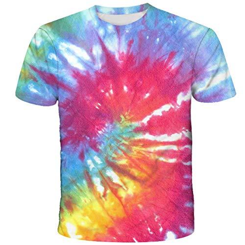 Camisetas De Verano con Cuello Redondo Impresas En 3D Unisex, Manga Corta con Impresión En Color De Inyección De Tinta De Pintura Artística, Camisetas Sueltas De Moda tee-B_3XL