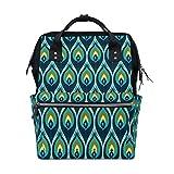 Bolsa de pañales para mamá, papá, pavo real, color verde, mochila de viaje, escolar, niño, niña, gran capacidad, pañal para mamá, hombres y mujeres