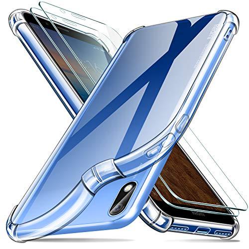 Leathlux Funda Xiaomi Redmi 7A + [2 Pack] Cristal Templado Protector de Pantalla, Ultra Fina Silicona Transparente TPU Carcasa Protector Airbag Anti-Choque Anti-arañazos Cover para Xiaomi Redmi 7A