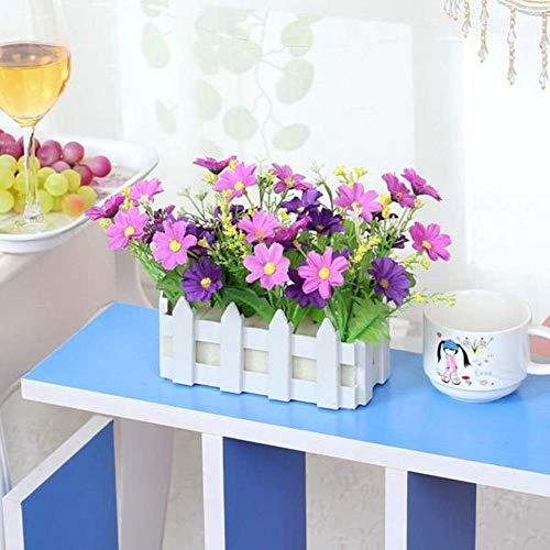 WEWE Tuin Kunstbloemen Nep Bloem In Picket Hek Pot Pack Mini Potplanten