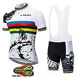 ZYQZYQ Equipo Ropa De Ciclismo Bicicleta Jersey 12D Almohadillas De Gel Ropa De Ciclismo para Hombre Bicicleta Verano Tops Jerseys De Ciclismo Pantalones Cortos De Bicicleta,B-XL