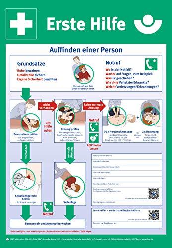 Aushang Erste Hilfe nach DGUV | PVC 59 x 41 cm | gemäß DGUV Information 204-001 | Schild Sicherheitsaushang Notfalltafel Verhaltensregel Anleitung Erste Hilfe Notfallplan | Dreifke®