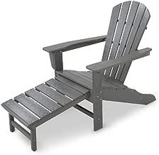 Polywood HNA15GY Palm Coast Ultimate Hideaway Ottoman Adirondack Chair, Slate Grey