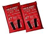 Lonnsaffe - Coperta di emergenza antincendio in fibra di vetro, ideale per cucina, camino, griglia, automobile, campeggio (confezione da 2, 1 x 1 m)