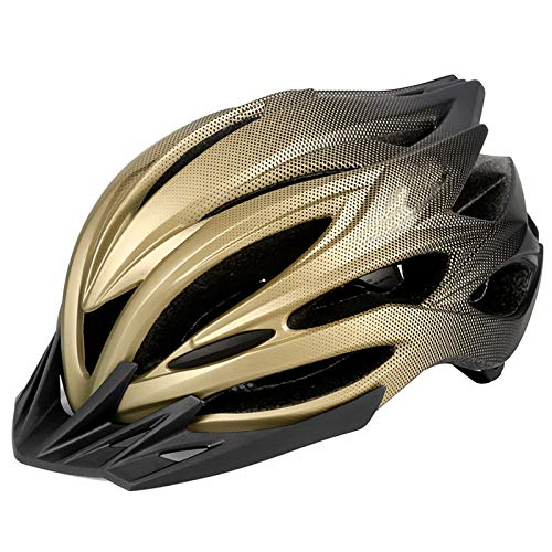 Fahrradhelm, Erwachsene Fahrradhelm Paar Fahrradhelm MTB-Rennradhelm Radhelm Mit LED Rücklicht EPS-Körper PC-Schale Verstellbar Radhelm mit Abnehmbarem Visier Outdoor Mountainbike Helm 58-62cm Golden