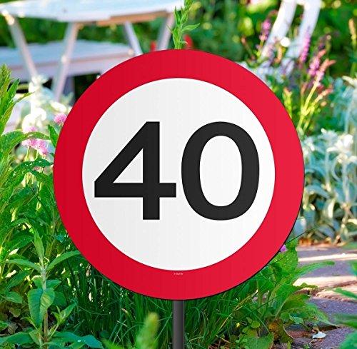 Folat Gartenschild für Geburtstagsparty, Verkehrsschild, 40. Geburtstag