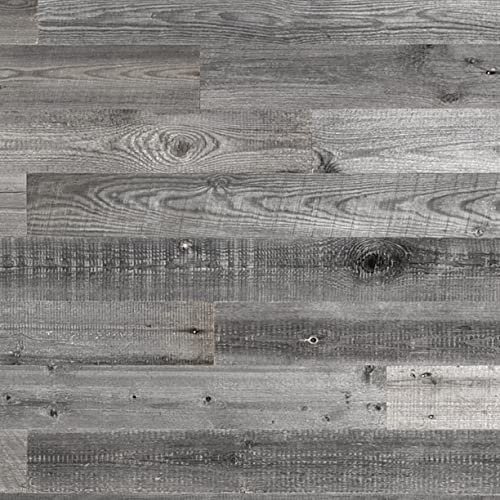 Sunbaked Gray Reclaimed Barnwood Planks Wood Accent Wall Wooden Backdrop Headboard 47' x 5' x 0.3' Set of 12 Real Wood Boards Weathered Rustic Farmhouse Hardwood Paneling Tiles (12, Width 4 inch)
