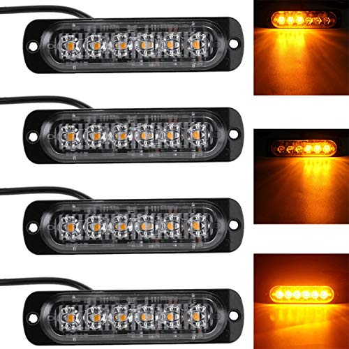 Willpower 4 piezas 18W 6 LED delgado ámbar amarillo flash flash estroboscópico barra coche coche señal de emergencia luz de estacionamiento lámpara 12-24V