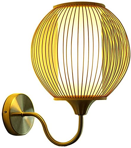 Lámpara de pared de mimbre de bambú natural Pantalla de madera hecha...