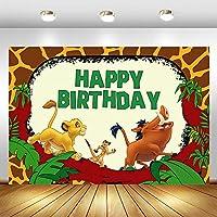 写真パーティーの誕生日の背景Pictureswoodlandハッピーバースデーの背景ジャングルサファリ動物の写真の背景ライオンイノシシデザートテーブルデコレーション小道具