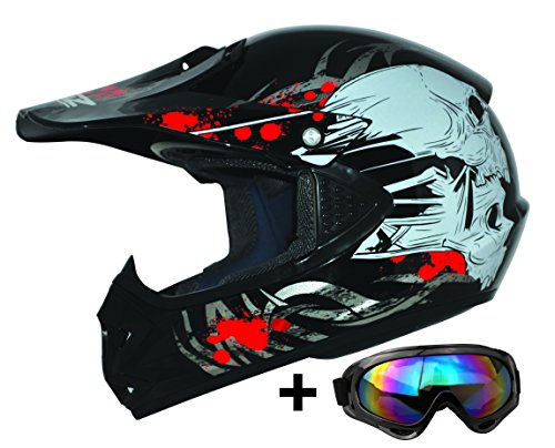 ATO Moto Kids Pro Kinderhelm in Schwarz inklusive MX Motorrad Brille
