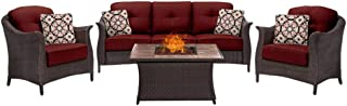 Hanover GRAM4PCFP-RED-TN Gramercy 4-Piece Woven Set, Crimson Red with Stone Top Fire Pit