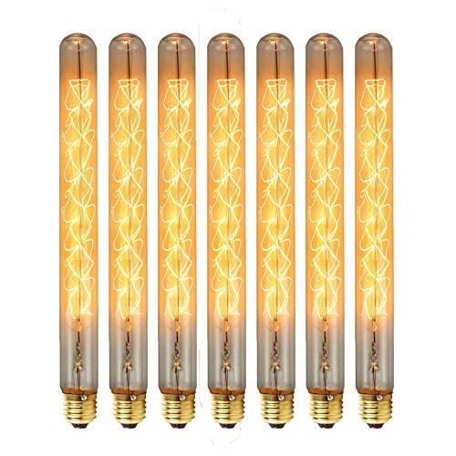 Muccy 7X Bombillas Vintage Filamento de Tungsteno Edison, 40W Bombilla Retro Decorativa 2300K Iluminación de Filamento Antiguo Ambar Vidrio para Lluminación Decoración Casa Restaurante Bar Café