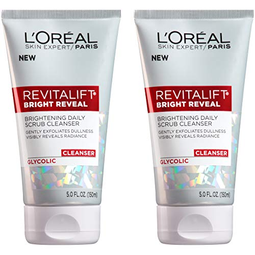L'Oreal Paris Skincare Revitalift Bright Reveal Facial Cleanser with Glycolic Acid, Anti-Aging Daily Face Cleanser to Exfoliate Dullness and Brighten Skin, 5 Fl Oz (Pack of 2)