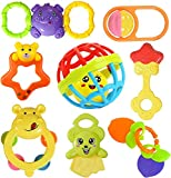 Cable World® Colourful Plastic Non Toxic Set of 8 Attractive Rattle for New