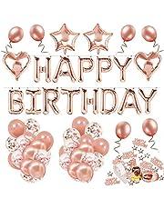 Rosguld Grattis på födelsedagen dekorationer, MMTX grattis på födelsedagen banderoll för flickor och kvinnor med 32 latexballonger 12 konfettiballonger folieballonger festtillbehör för 16:e 18:e 21:30:e 50:e 60:e