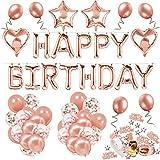 Decoración de cumpleaños 18 en oro rosa, feliz cumpleaños Decoración guirnalda Banner...