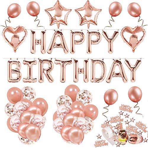 Decoración de cumpleaños 18 en oro rosa, feliz cumpleaños Decoración guirnalda Banner de cumpleaños para fiesta con globos y globos de confeti y globos de aluminio de corazón para niñas y muje