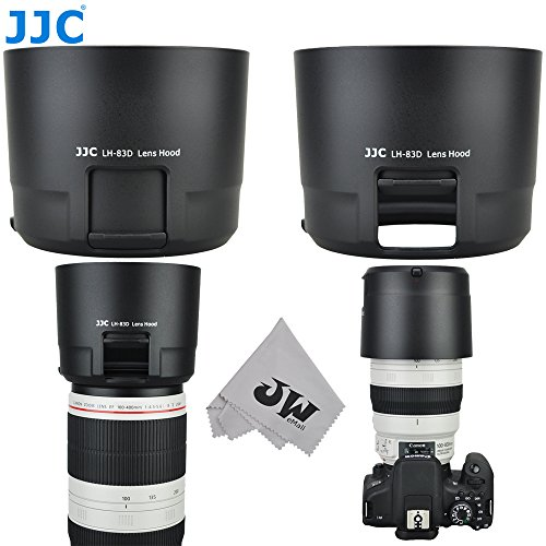 JW LH-83D BLACK Reversible Lens Hood For CANON EF 100-400mm f/4.5-5.6L IS II USM Lens w/ CPL ND Filter Adjustment Window replaces Canon ET-83D + JW emall Micro Fiber Cleaning Cloth