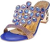 PAOLIAN Sandalias y Chanclas para Mujer Verano 2018 Moda Noche Chanclas con Rhinestone Fiesta Zapatos de Plataforma Tacón Ancho Cuña Open Toe Antideslizante Sandalias (38, Azul)