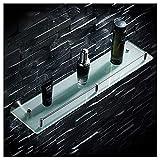 Guomipai Organizador de ducha rectangular de cristal para baño, de acero inoxidable, montado en la pared, estante de almacenamiento frontal de espejo, cesta de cocina para baño
