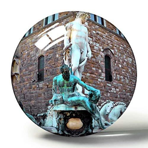 Italien Toskana Florenz Brunnen Neptun Pierre 3D Kühlschrank Magnet Souvenir Sammlung Reise Geschenk Kreis Kristall Kühlschrank Magnete