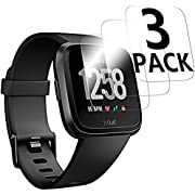[3-Pack] Screen Protector Compatible with Fitbit Versa Smartwatch, Waterproof Tempered Glass Screen Protector [9H Hardness] [Crystal Clear] [Scratch Resist] [No-Bubble]