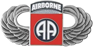 Silver Paratrooper Wings with 82nd Airborne Division Lapel Pin