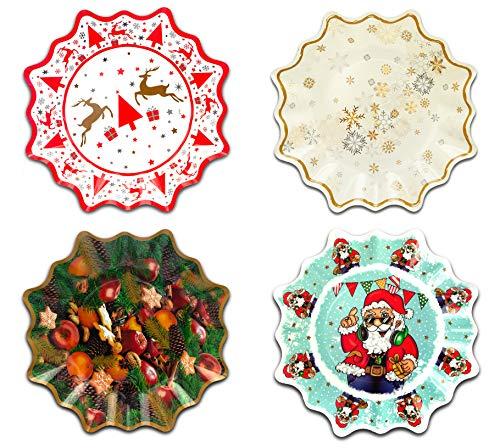 Helmecke & Hoffmann Weihnachtsteller 4er-Set, Pappteller mit weihnachtlichen Motiven, Sternform