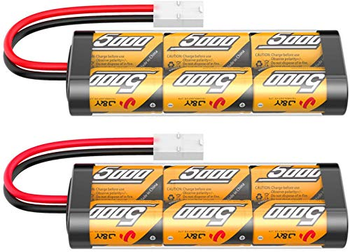 7.2V 5000mAh NIMH Battery for RC Cars, 6-Cell Flat Rechargeable Battery Pack, Replacement Hobby Battery with Tamiya Connector for Car Truck Truggy Buggy Tank Airplane Helicopter Boat Racing (2 Pack)