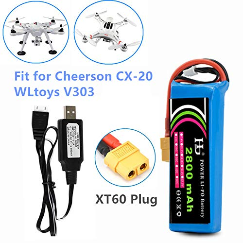 Cheerson CX-20 Battery 11.1V 2800mAh Li-po Battery for DJI Inspire 1 WLtoys V303 RC Drone Battery 1 Pack with USB Charger