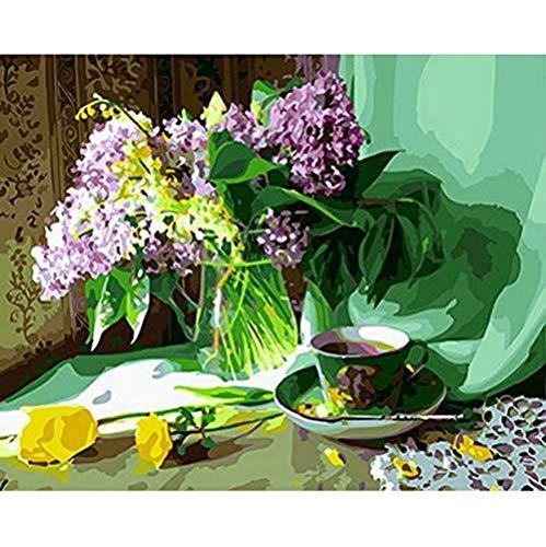 JFZJFZ schilderij op nummer, doe-het-zelf schilderij olieverfschilderij op schildersdoek voor wooncultuur dierschilderen koffie en snoepjes, 40 x 50 cm