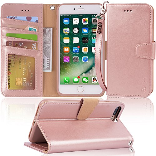 """Arae Case For iPhone 7 plus / iPhone 8 plus, Premium PU leather wallet Case with Kickstand and Flip Cover for iPhone 7 Plus (2016) / iPhone 8 Plus (2017) 5.5"""" (not for iphone 7/8) - Rose Gold"""